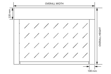 Technical drawing of width and height SWS SeceuroFire curtain installation