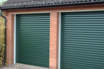 Matching SeceuroGlide Classic Roller Doors in green